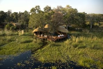 An aerial view of Sanctuary Baines' camp in the Okavango Delta