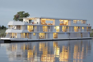 The Zambezi Queen is a luxury cruise boat on the Chobe River in Northern Botswana